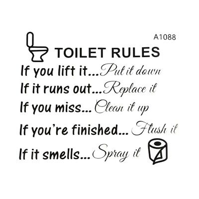 Toilet Rules Bathroom Removable Wall Sticker Vinyl Art Decal