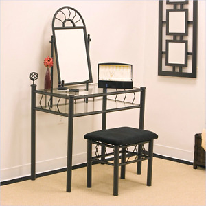 Rod wrought iron Vanity makeup table with matching stool