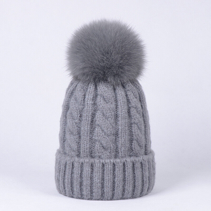 58d6233c0d8 Details about Women Cashmere Blend Knit Beanie Hat with Real Fox Fur Pompom  Ears Winter Cap
