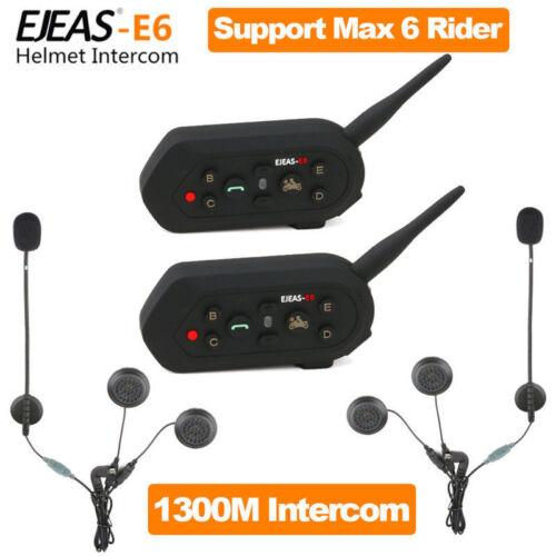 2Pcs E6 1200M BT Bluetooth Motorcycle Helmet Interphone Two-way Intercom Headset