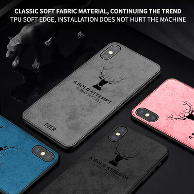 Deer Cover (Deer Vintage Fabric Case For iPhone X Xs Max XR 10 Back Cloth Cover)
