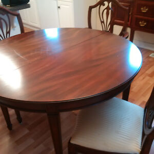 Mahogany Dining Tables, 4 chairs and sideboard