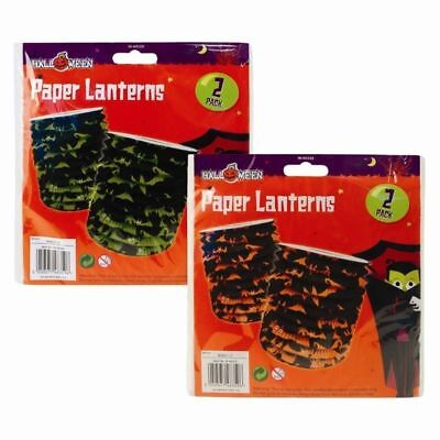 Halloween Paper Lanterns Scary Bat Design Hanging Decorations Orange Green Party ()