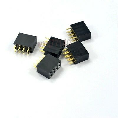 50pcs 2.54mm Pitch 2x4 8 Pin Female Double Row Straight Header Connector Pcb Diy