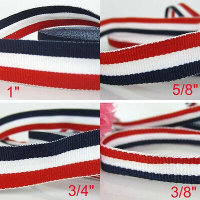 Flag Ribbon (5/10/35 yards Patriotic Red White Navy Blue Stripe Grosgrain Ribbon Flag)
