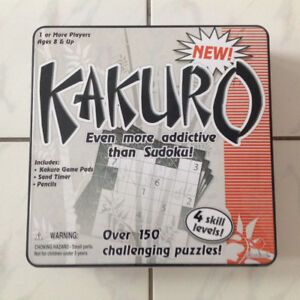 Kakuro Game Set in Collectible Tin - New in Original Packaging