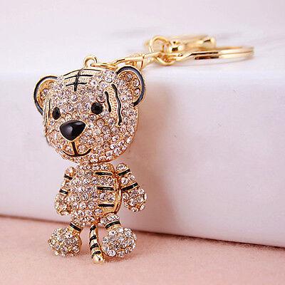 Tiger Keychain (Tiger Crystal Rhinestone Charm Pendant Key Bag Chain Gift Keychains Keyrings)