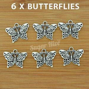6 x Butterfly Tibetan Silver Tone Charms Beads Metal Pendants Bracelet Nature
