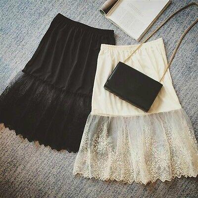 Womens Lace Slip Skirt Extender Knee Length A-Line Flower Underskirts - Lace Petticoat