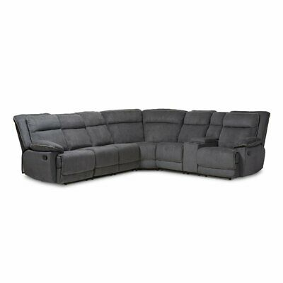 Baxton Studio Sabella 7 Piece Reclining Sectional in Dark Gr