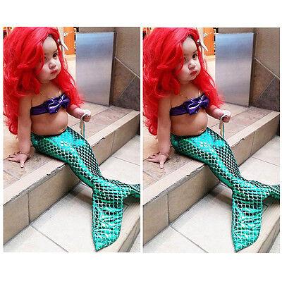 US Kids Baby Girls Mermaid Tail Bikini Swimsuit Swimwear Bathing Suit Costume (Mermaid Baby Costume)