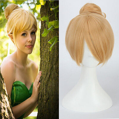 Fairy Tinker Bell Wigs Yellow Short Straight Synthetic Hair Updo Cosplay Women](Belle Wigs)