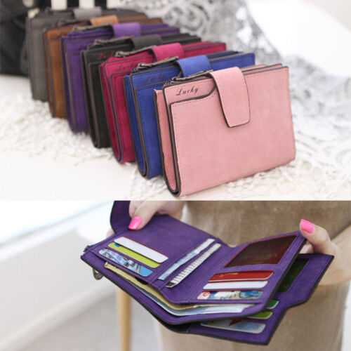 Women's Short Small Wallet Leather Folding Coin Card Holder