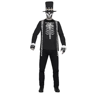 Mens Black Voodoo Skeleton King Witch Doctor Halloween Fancy Dress - Halloween Costume Witch King