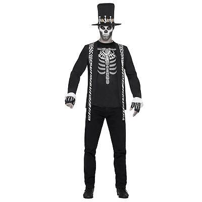 Mens Black Voodoo Skeleton King Witch Doctor Halloween - Witch King Kostüm