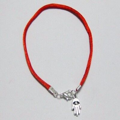 Kabbalah Red String Bracelet Silver Protection Amulet Hasma Hand  Fatima Hand for sale  Hayward