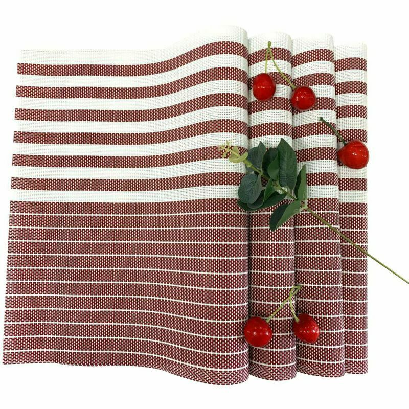 Placemats Heat-Resistant Washable Anti-Skid PVC Table Mat Woven Set of 6 Stripe