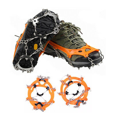 Pair Ice Cleats Snow Shoes Spikes Anti Slip 18 Teeth Traction Boot Grips Crampon