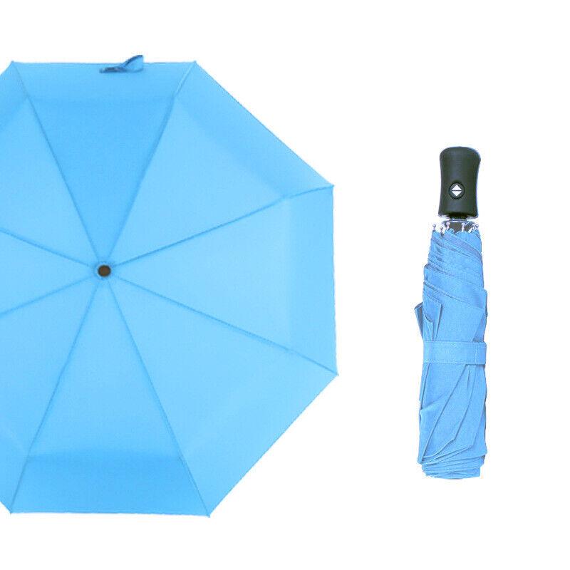 Damen UV-beständig Sonnenschirm Blauer Himmel Regenschirm Faltung Stockschirm
