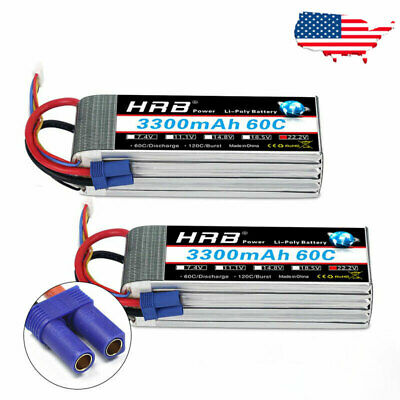 HRB 22.2V 3300mAh 6S LiPo Battery 60C-120C EC5 for RC Helico