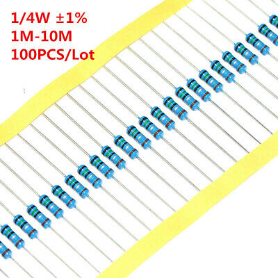 100pcs 14w 0.25w Metal Film Resistor 1 1m-10m 1.5m 3.3m 4.7m 6.8m 2.2m Ohm