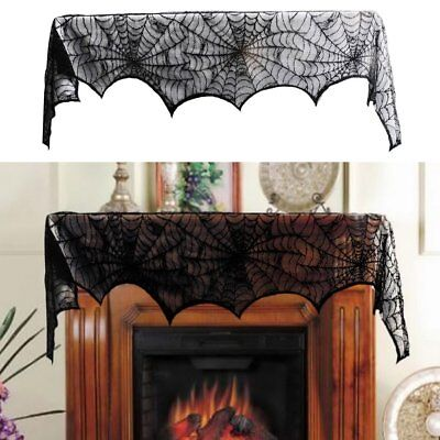 Gothic Black Lace BAT SPIDER WEB TABLE CLOTH COVER Halloween Party Home Decors - Halloween Party Table Cloth