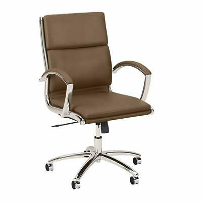 Studio C Mid Back Leather Executive Office Chair In Saddle Tan