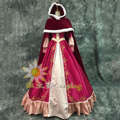 Belle Adult Costume Beauty and the Beast Dress Cape Princess Cosplay Gown Cloak