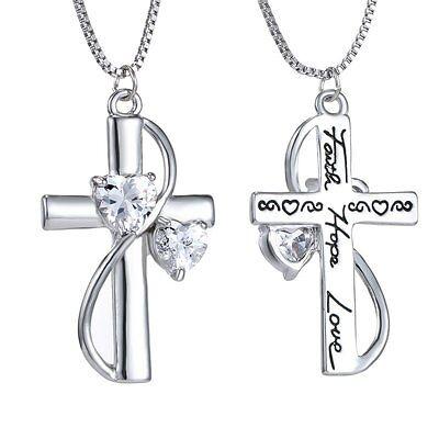 Engraved Mother's Day Gift Women Heart Faith Hope Love Cross Necklace (Engraved Heart Cross)