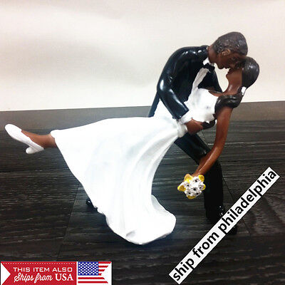 African  American Couple Bride and Groom Wedding Dancing Dip Hug Cake Topper