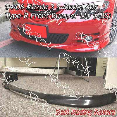 - Type-R Style Front Bumper Lip (ABS) Fits 04-06 Mazda 3 4dr S-Model