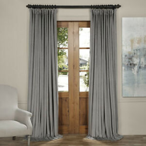 BRAND NEW Designer Silver Grey Velvet Blackout Curtains ($200)