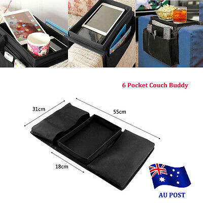 6 Pocket Couch Buddy Remote Control Holder Sofa Arm Rest Organizer Caddy Bag BO