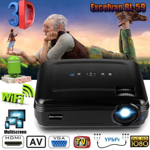 WiFi Android 6000Lumen Beamer Heimkino Projektor 3D 1080P Bluetooth 8G ATV HDMI