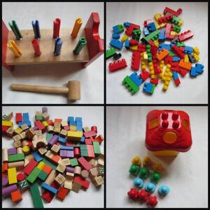Wooden building blocks, LEGO pieces, Hammer block