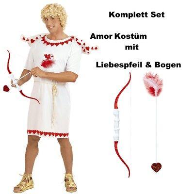GÖTTERBOTE AMOR Komplettset Herren - Kostüm mit Pfeil & Bogen - Liebesbote (Amor Engel Kostüm)