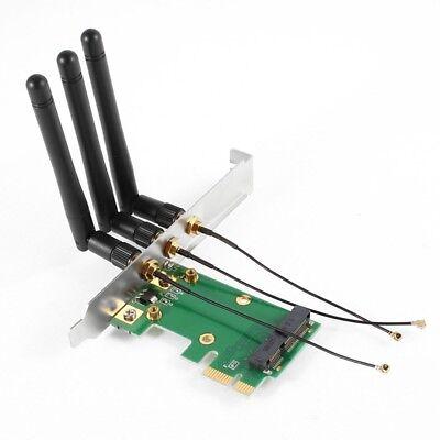 Mini PCI-E Express to PCI-E Wireless Adapter w 3 Antenna WiFi for PC U8N2