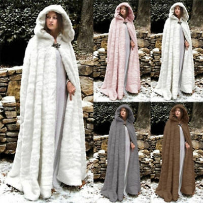 Capes For Women (Women Hooded Faux Fur Loose Cape Long Cloak Shawl Mantle Cardigan Coat)