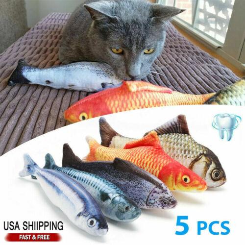 5 Pack Realistic Interactive Fish Cat Kicker Crazy Pet Toy Catnip Toys Xmas Gift