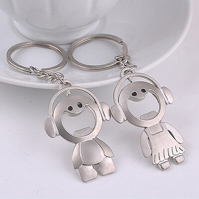 Cute Couples Keyring Set Lovers Bottle Opener Key Chain Ring Keychain Gift lj