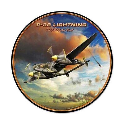 P-38 LIGHTNING FORK TAILED DEVIL ROUND METAL SIGN (Devil Tails)