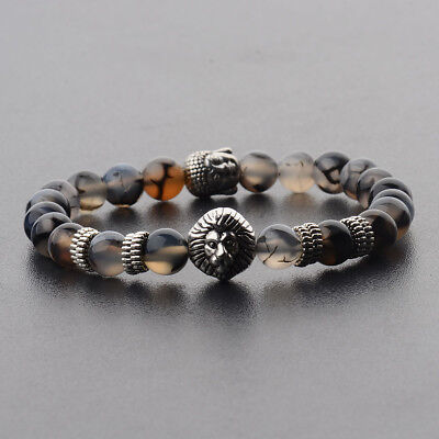 8MM Men Natural Stone Silver Lion Buddha Beaded Charm Fashion Bracelets Gift