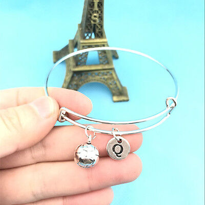 Soccer Ball Charm Initial Letter Adjustable Expandable Personalized  Bracelets