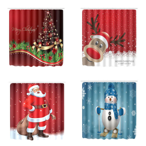 Christmas Waterproof Shower Curtain Bathroom Santa Snowman W