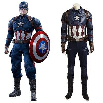 Top Grade Captain America 3 Civil War Steven Rogers Cosplay Costume Full Set](Movie Grade Costumes)