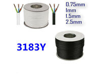 3 Core Round Black/White Flexible Electric Cable 0.5 0.75 1.0 1.5 2.5mm PCV Wiring 3183Y