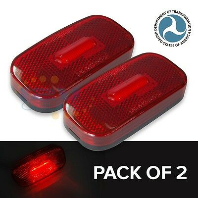 2x12V LED Side Marker Clearance Rear Light RV Trailer Truck Lorry Indicator Red