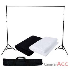 Black-White-Muslin-Cotton-Backdrop-Pro-Photo-Studio-Background-Support-Stand-Kit