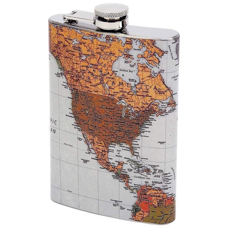 FLASK 8oz Antique WORLD MAP Traveler Globe Screw Cap Hip Pocket Liquor Alcohol