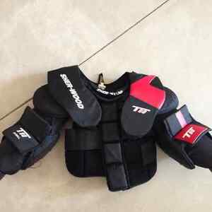 Youth goalie helmet and chest protector